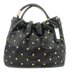 Rhinestone Braided Handle Tote Bag X13 30104 BLACK