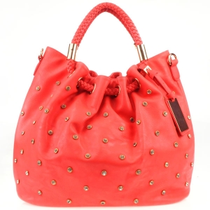 Rhinestone Braided Handle Tote Bag X13 30104 CORAL