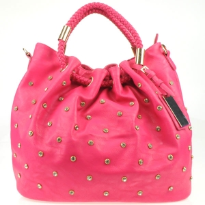 Rhinestone Braided Handle Tote Bag X13 30104 FUCHSIA