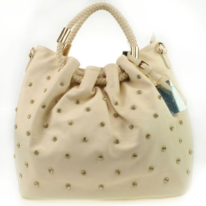 Rhinestone Braided Handle Tote Bag X13 30104 IVORY