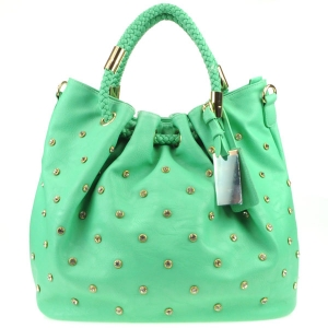 Rhinestone Braided Handle Tote Bag X13 30104 MINT