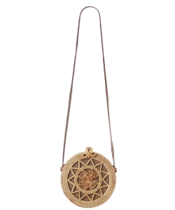 Round Woven Bamboo Bag with Leather Strap & Bow Natural Rattan Braided Women Crossbody Bag  3012 NATURAL