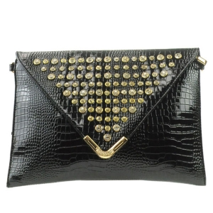 Rhinestone Flap Clutch X13 30121 BLACK