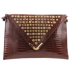 Rhinestone Flap Clutch X13 30121 BROWN