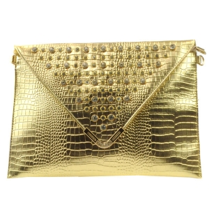 Rhinestone Flap Clutch X13 30121 GOLD