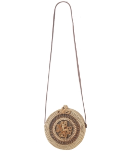Round Bamboo Bag with Leather Strap & Bow Natural Rattan Braided Women Crossbody Bag 3013 NATURAL