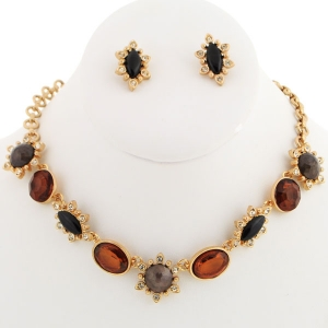 Colored Crystal Stones Necklace X37 30144 BROWN