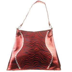 Large Western Alligator Zebra Bag X83 30232 BURGUNDY
