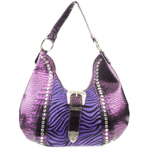 Zebra Alligator Rhinestone Western Bag X83 30243 PURPLE