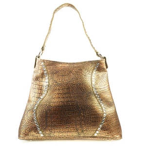Large Western Alligator Zebra Bag X83 30249 LIGHT BROWN