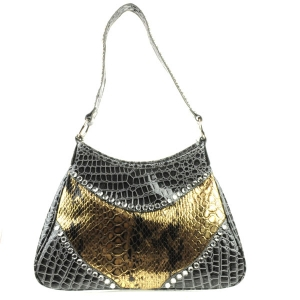 Patent Metallic Look Alligator Shoulder Bag X83 30251 GOLD