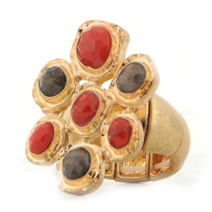 Colored Stones Stretch Ring X37 30330 RED