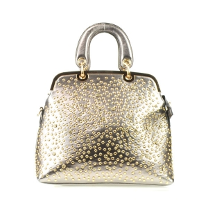 Rhinestone Studded Tote X13 30361 PEWTER