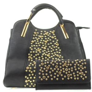 Rhinestone Bag and Wallet Combo X13 30364 30550 BLACK