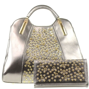 Rhinestone Bag and Wallet Combo X13 30364 30550  PEWTER