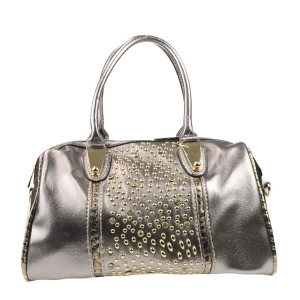Rhinestone Studded Tote X13 30367 PEWTER