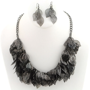 Leaves Layered Necklace and Earring Set X25 30431 H BLACK