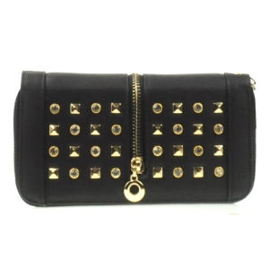 Rhinestone Zipper Wallet X10 30528 BLACK