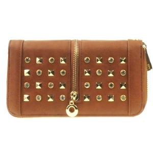 Rhinestone Zipper Wallet X10 30528 BROWN