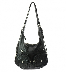 Faux Leather Hobo Messenger Bag 9333-BIG 30561 Black