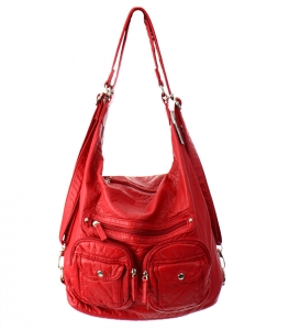 Faux Leather Hobo Messenger Bag 9333-BIG 30561 Red