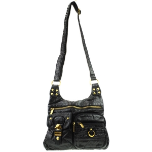 Front Zippered Fashion Messenger X80 30567 BLACK
