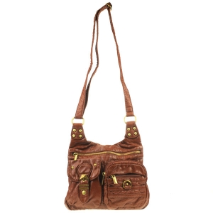 Front Zippered Fashion Messenger X80 30567 BROWN