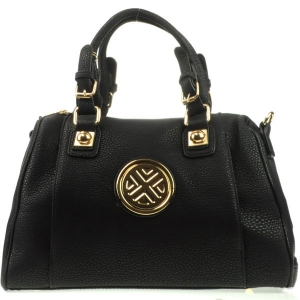 Gold Accented Satchel Bag X12 30609 BLACK