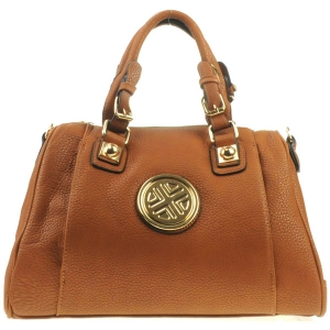 Gold Accented Satchel Bag X12 30609 BROWN