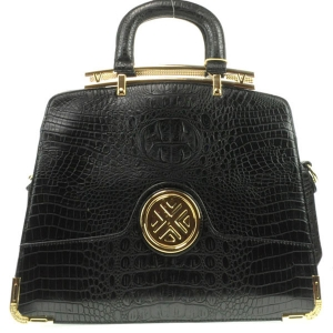 Gold Accentuated Alligator Tote Bag X12 30617 BLACK
