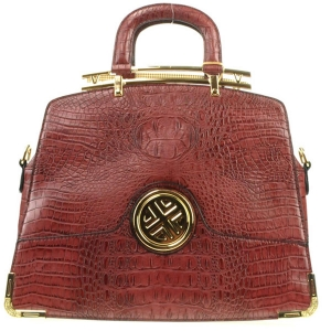Gold Accentuated Alligator Tote Bag X12 30617 BURGUNDY