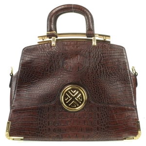 Gold Accentuated Alligator Tote Bag X12 30617 COFFEE