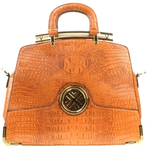 Gold Accentuated Alligator Tote Bag X12 30617 LIGHT BROWN