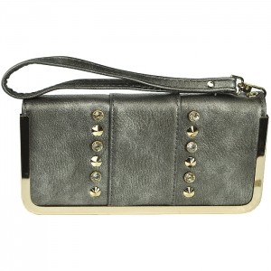 Gold Metal Trim Glass Studded Wallet with Strap - Pewter