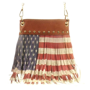 American Flag Fringe Messenger Bag X24 30631 BROWN