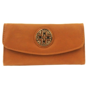 Gold Accent Flap Wallet X36 30642 BROWN