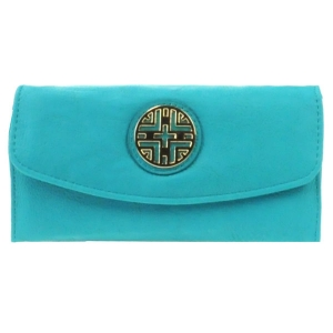 Gold Accent Flap Wallet X36 30642 TURQUOISE