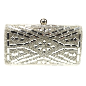 Mirror Stones Patterned Rhinestone Evening Bag X31 30678 SILVER