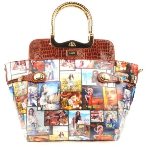 Alligator Trim Lany Magazine Collage Tote X18 30685 BROWN