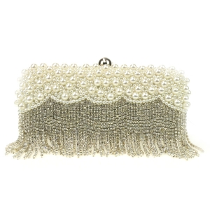 Pearl and Rhinestone Evening Clutch X44 30705 WHITE
