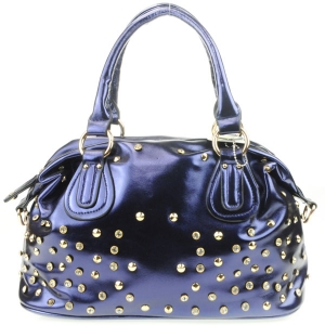 Diagonal Back Pocket Rhinestone Satchel AD 30707 BLUE
