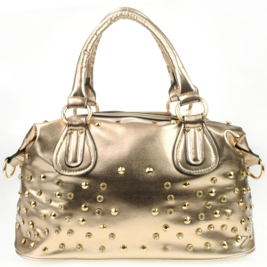 Diagonal Back Pocket Rhinestone Satchel AD 30707 CHAMPAGNE