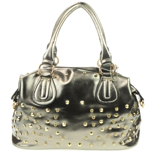 Diagonal Back Pocket Rhinestone Satchel AD 30707 PEWTER