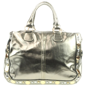 Studded Metallic Handbag AD 30710 PEWTER