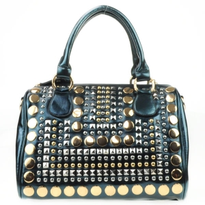 Spike Studded Gold Studs Handbag AD 30713 BLUE