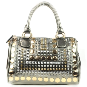 Spike Studded Gold Studs Handbag AD 30713 PEWTER