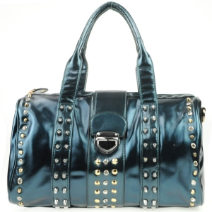 Rhinestone Studded Push Lock Handbag AD 30716 BLUE