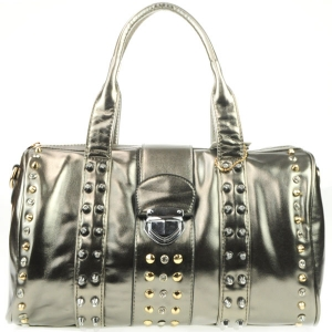 Rhinestone Studded Push Lock Handbag AD 30716 PEWTER