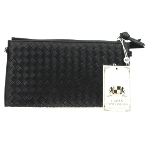 Urban Expressions Avril Woven Clutch 30744 10436-UR BLACK