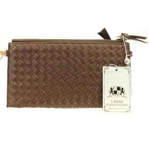 Urban Expressions Avril Woven Clutch 30744 10436-UR NUTMEG BROWN
